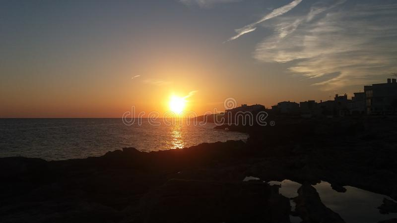 Mallorca-por do sol 2016 foto de stock royalty free