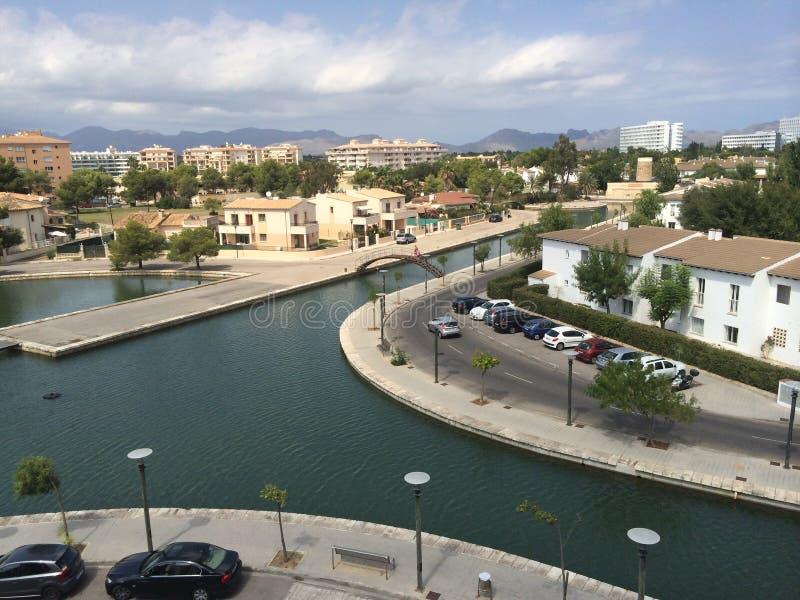 Mallorca sikt från balkong royaltyfri fotografi