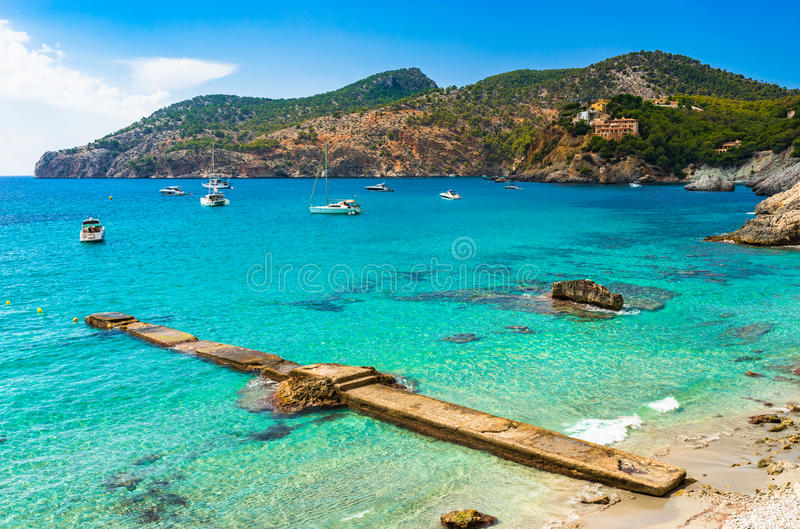 Mallorca Spain beautiful view of Camp de Mar bay. Idyllic view of Camp de Mar bay with boats, Majorca Spain, Mediterranean Sea Mallorca, Balearic Islands stock image