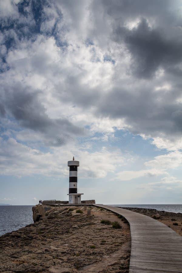 Mallorca, Spanje; 18 maart, 2018: Vuurtoren van Colonia DE San PB royalty-vrije stock foto's