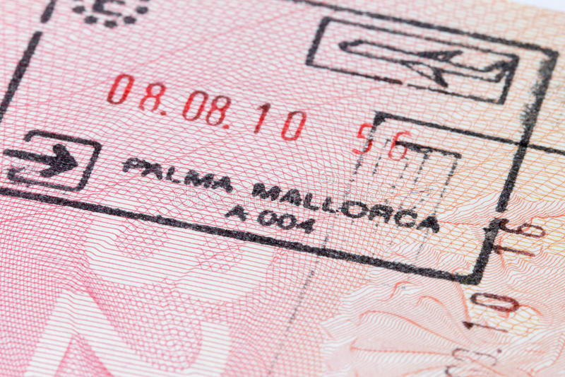 Mallorca stamp in passport royalty free stock photography