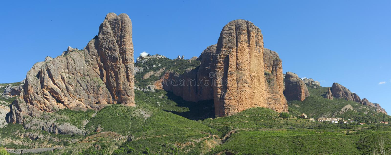 The Mallos de Riglos, Aragon, Spain. stock images