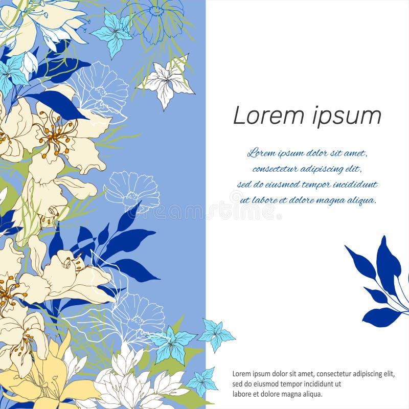 Mallram för text, presentation, affisch Mångfärgade blommor för vektor på en blå bakgrund vektor illustrationer