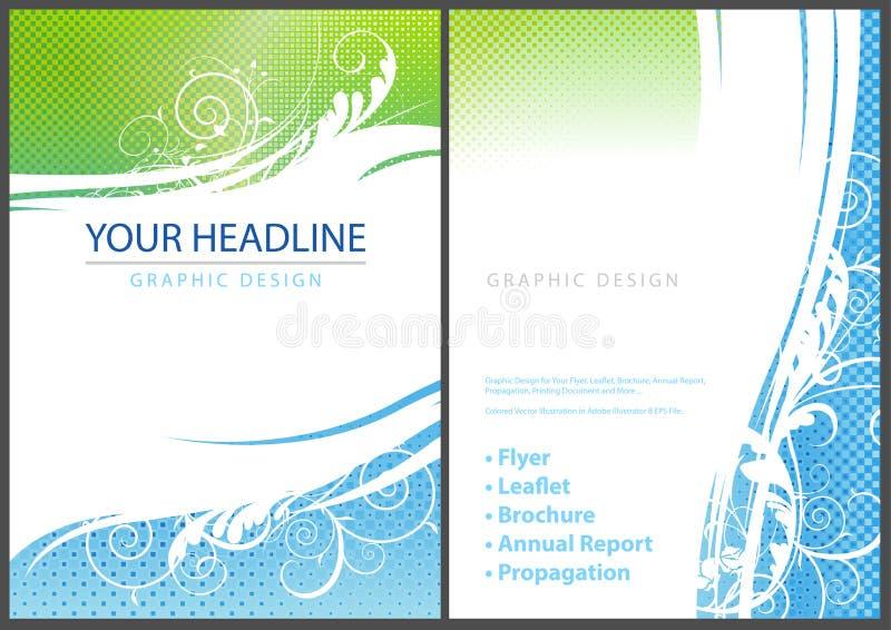 Mallreklambladdesign med eleganta blom- beståndsdelar royaltyfri illustrationer