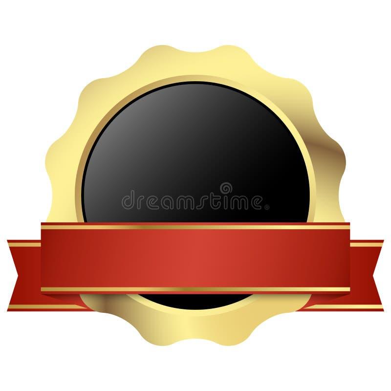 mallskyddsremsa av kvalitets- guld med banret vektor illustrationer