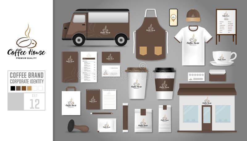 Malluppsättning 12 för företags identitet Logobegrepp för coffee shop vektor illustrationer