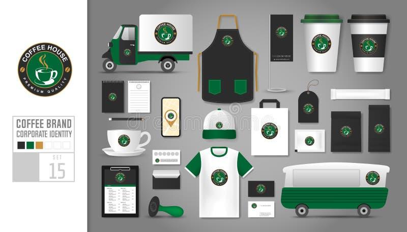 Malluppsättning 15 för företags identitet Logobegrepp för coffee shop stock illustrationer