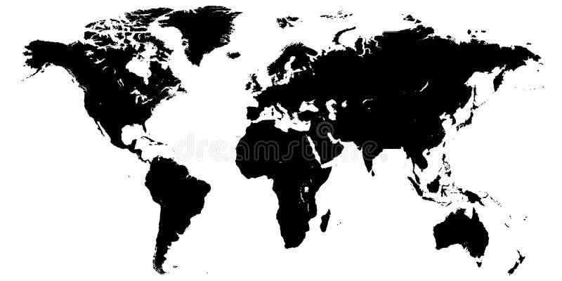 Mallvärldskarta, planetjord, konturer av hög för kontinenter och detaljvärldskartabakgrund för öar, hög upplösning royaltyfri illustrationer