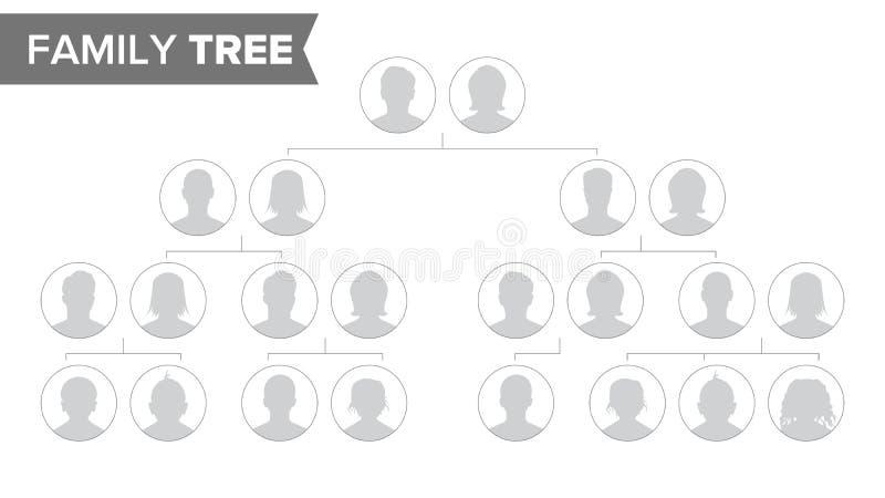 Mallvektor för genealogiskt träd Träd för familjhistoria med standardfolkstående Stamträddiagramillustration vektor illustrationer