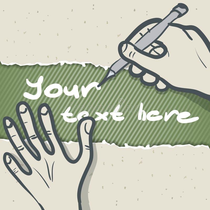 Mallvektorillustration av en handhandstil stock illustrationer