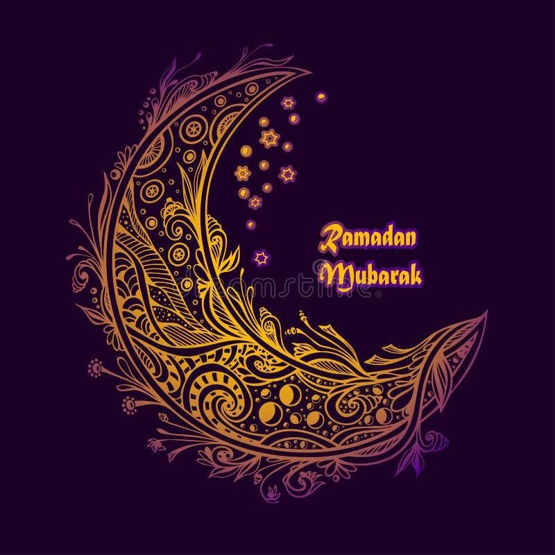 Mallvykort för berömd ferieRamadan i lila violett guld stock illustrationer