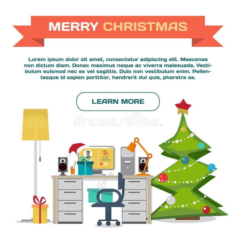 Mallwebpage om jul Inre vektorlägenhet för arbetsplats royaltyfri illustrationer