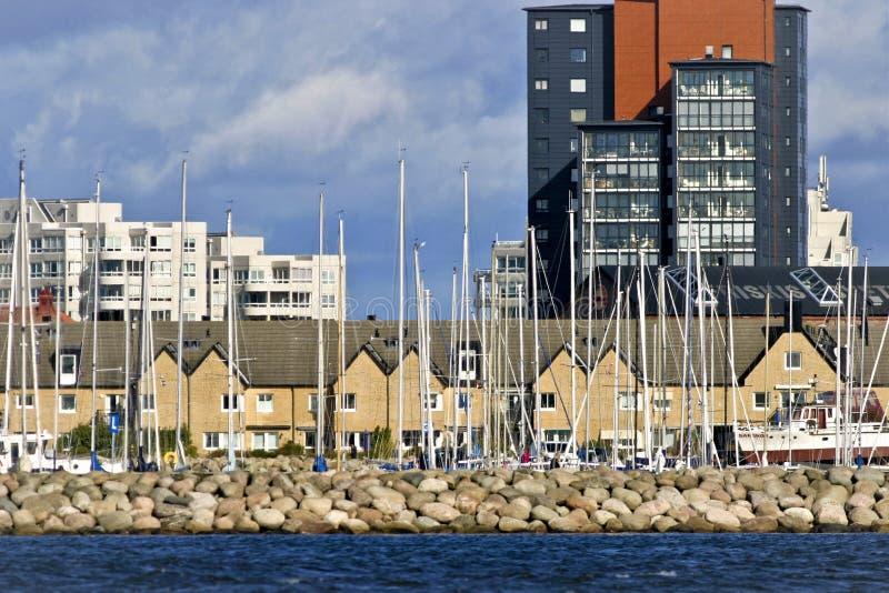 Malmö Ã-n hamnsegelbåtar arkivbilder