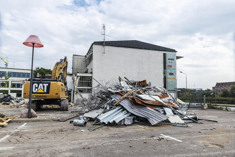 Demolition of old factories in Malmo, Sweden stock photography