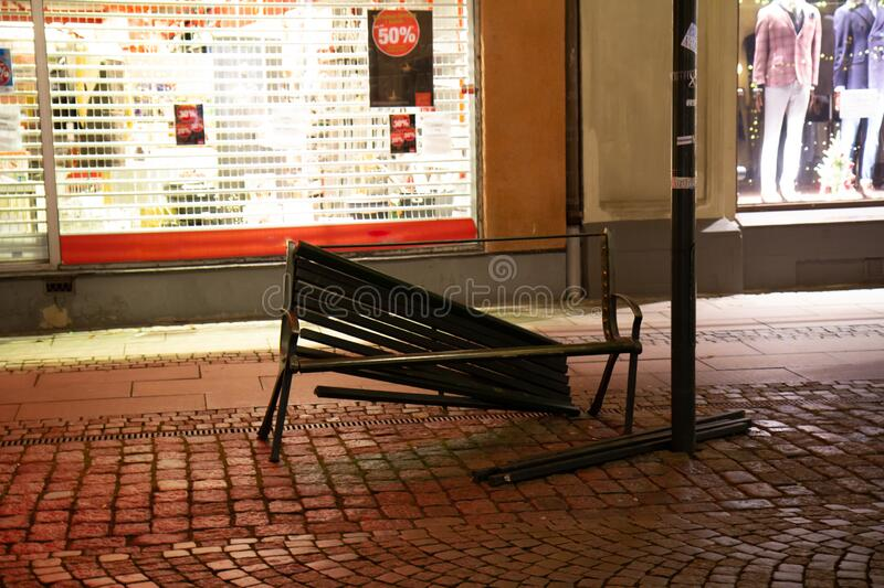 Malmö, Sweden - December 1, 2019: A public bench has been destroyed by criminals. Vandalism like this gives the city a bad. Reputation royalty free stock images