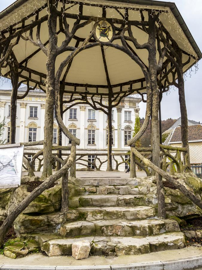 Malmedy, Belgium urban architecture. A music pavilion at Place de Rome in Malmedy, Belgium, Maison Cavens in the background royalty free stock photo