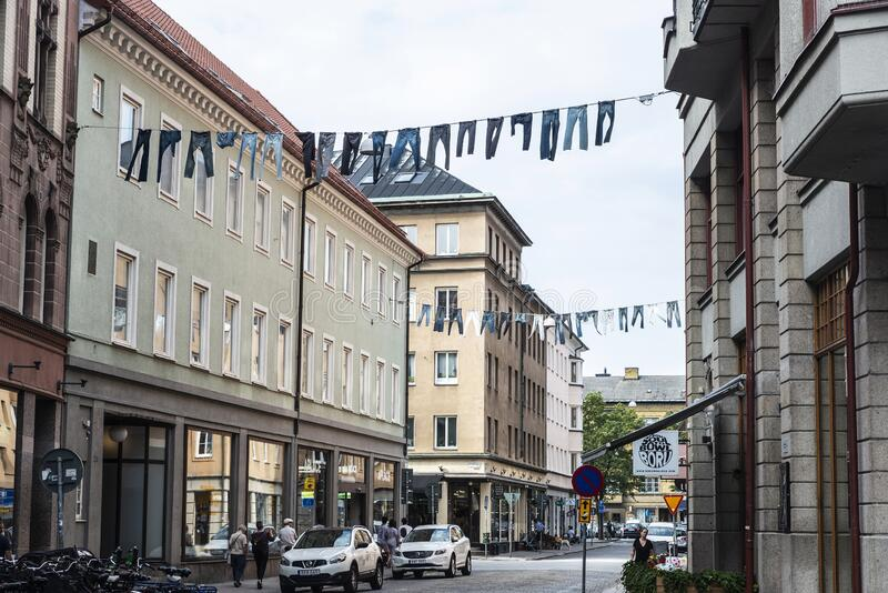 Trousers and clothes hanging in Malmo, Sweden royalty free stock photography