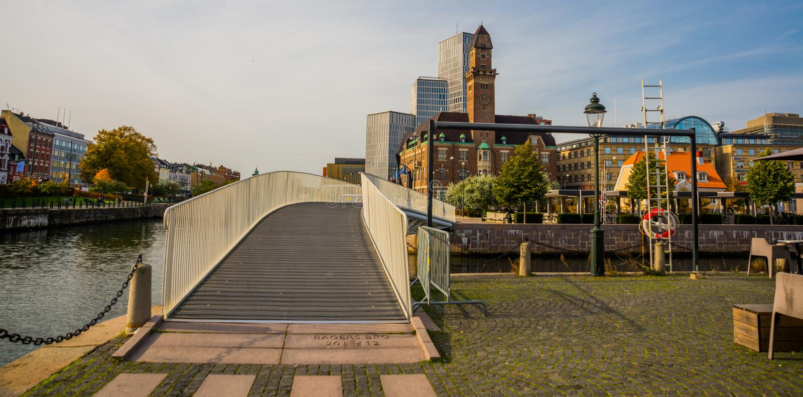 MALMO, SWEDEN: Beautiful scenery on the promenade of the bridge and buildings in city of Malmo stock photos