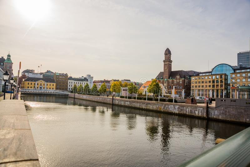 MALMO, SWEDEN: Beautiful scenery on the promenade of the bridge and buildings in city of Malmo stock images
