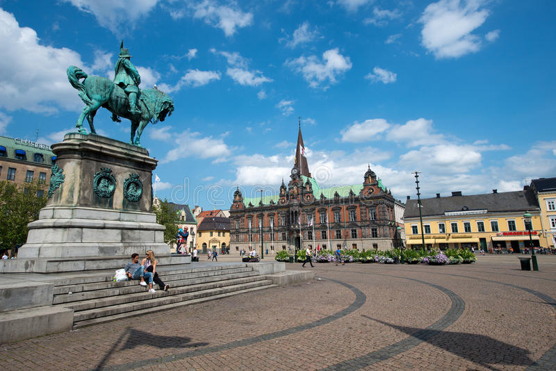 Malmo, Sweden. JULY 20: People visit the main square on July 20, 2015 in . After Stockholm and Gothenburg, Malmo is the 3rd most visited city in Sweden stock photos