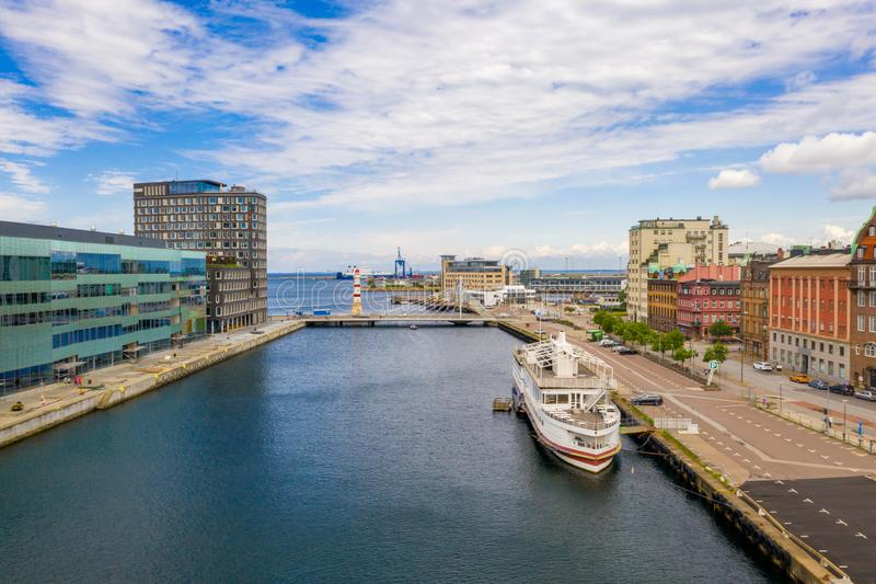 Beautiful view of the Malmo canals stock photo