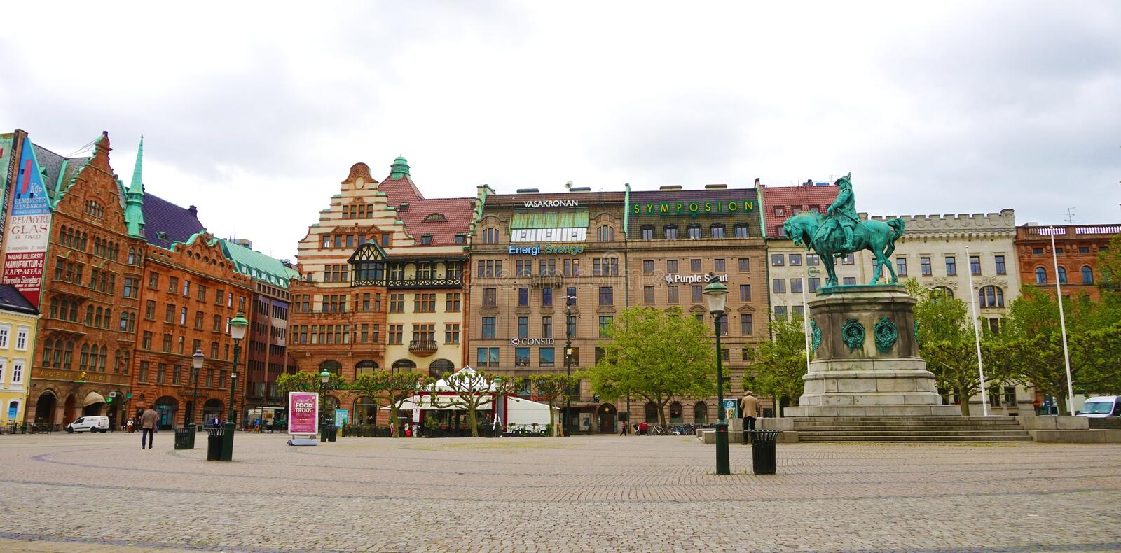 MALMO, SWEDEN - MAY 31, 2017: panoramic banner of Stortorget squ. Are with the equestrian statue of King Karl X Gustav, Malmo, Sweden stock photos