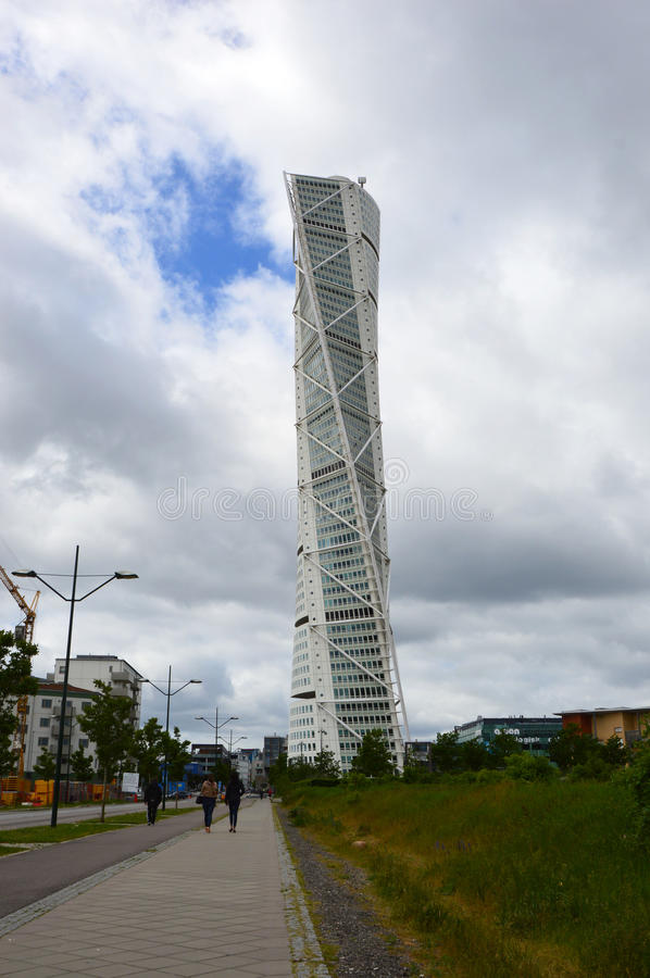 MALMO, SWEDEN - MAY 31, 2017: Turning Torso designed by Santiago Calatrava is the tallest building in Scandinavia. Located on Öresund strait, is regarded stock photography