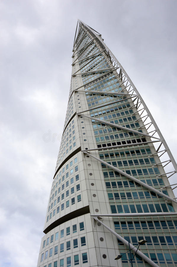 MALMO, SWEDEN - MAY 31, 2017: Turning Torso designed by Santiago Calatrava is the tallest building in Scandinavia. Located on Öresund strait, is regarded royalty free stock photography