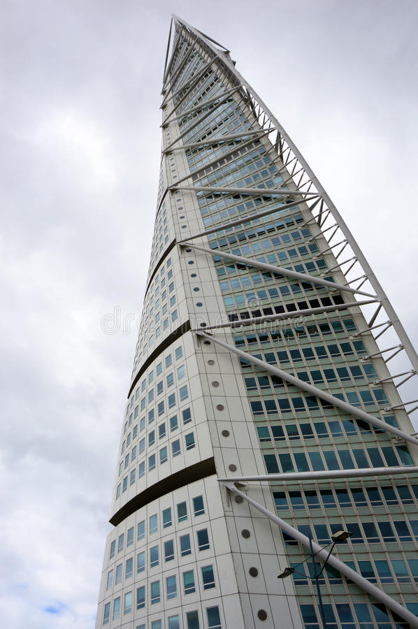 MALMO, SWEDEN - MAY 31, 2017: Turning Torso designed by Santiago Calatrava is the tallest building in Scandinavia. Located on Öresund strait, is regarded stock images