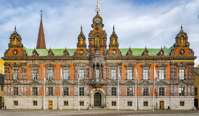 Malmo Town Hall Facade. The town hall building situated in the Swedish city of Malmo stock images