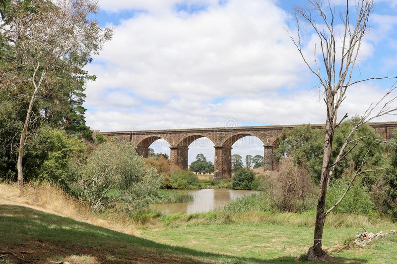 Malmsbury viaduct 1860 is 152 metres long and made of loca. The Malmsbury viaduct 1860 is 152 metres long and made of locally sourced bluestone stock photo