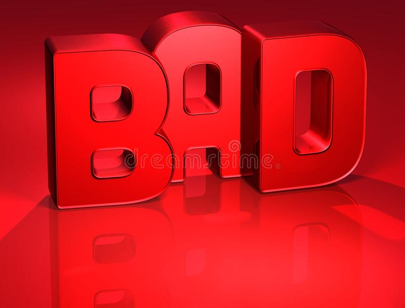 malo de la palabra 3D en fondo rojo ilustración del vector