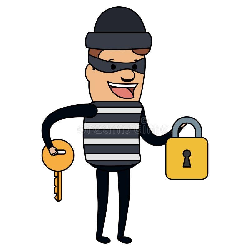 Malo del ladrón con el candado y el carácter dominante del avatar stock de ilustración