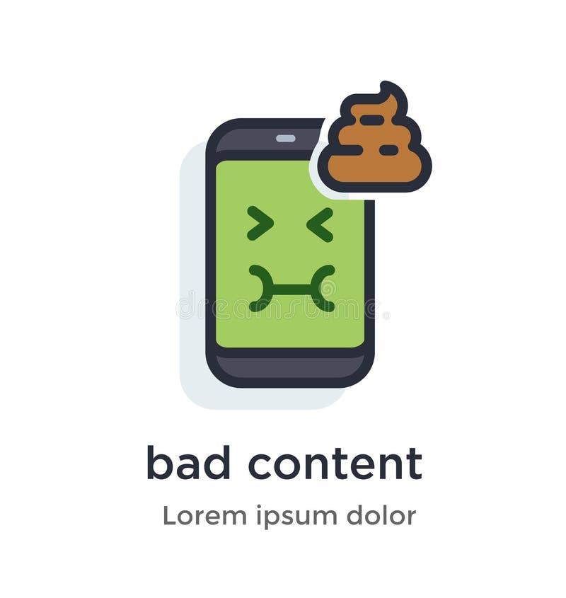 Malo del teléfono de la emoción, contenido, turd, icono nauseabundo, verde, desagradable del ejemplo libre illustration