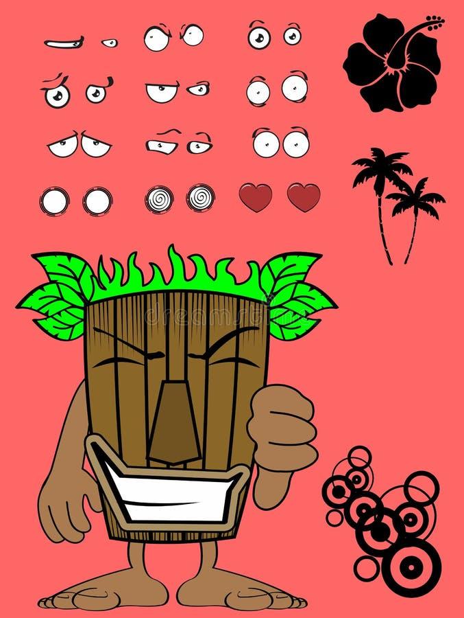Malo hawaiano de la expresión de la historieta de la máscara del tiki libre illustration
