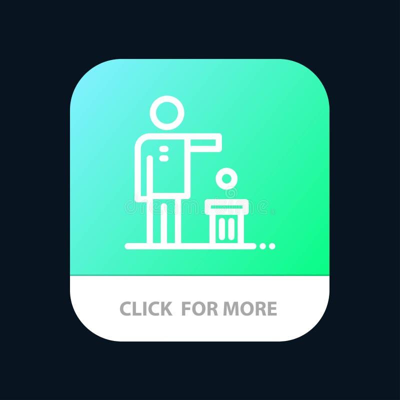 Malo, idea, ideas, reciclando, botón móvil pensado del App Android y línea versión del IOS libre illustration