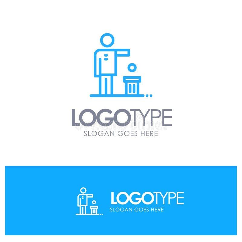Malo, idea, ideas, reciclando, logotipo azul pensado del esquema con el lugar para el tagline stock de ilustración