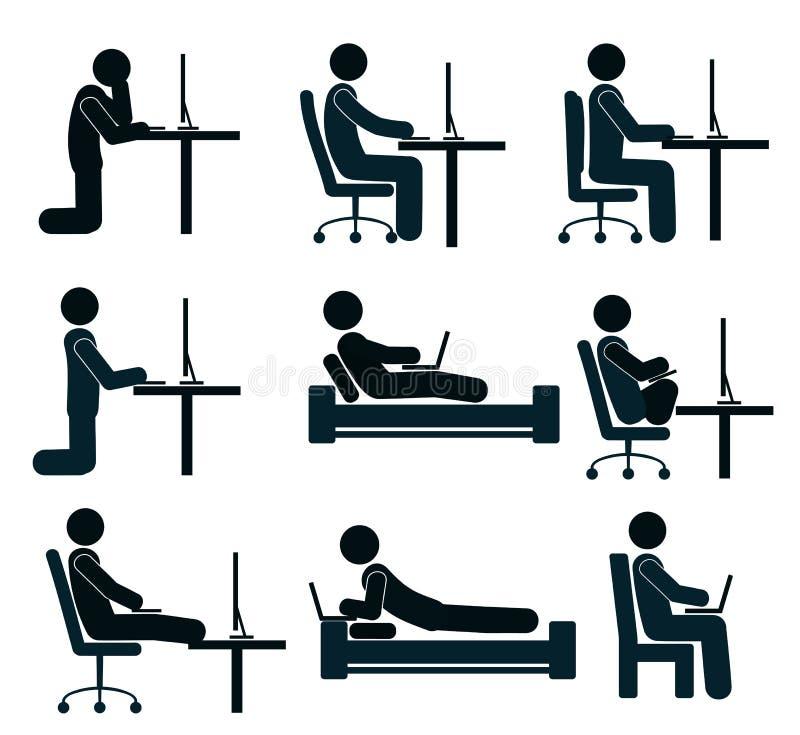 Malo y bueno trabajando la posición del ser humano en el ordenador ilustración del vector