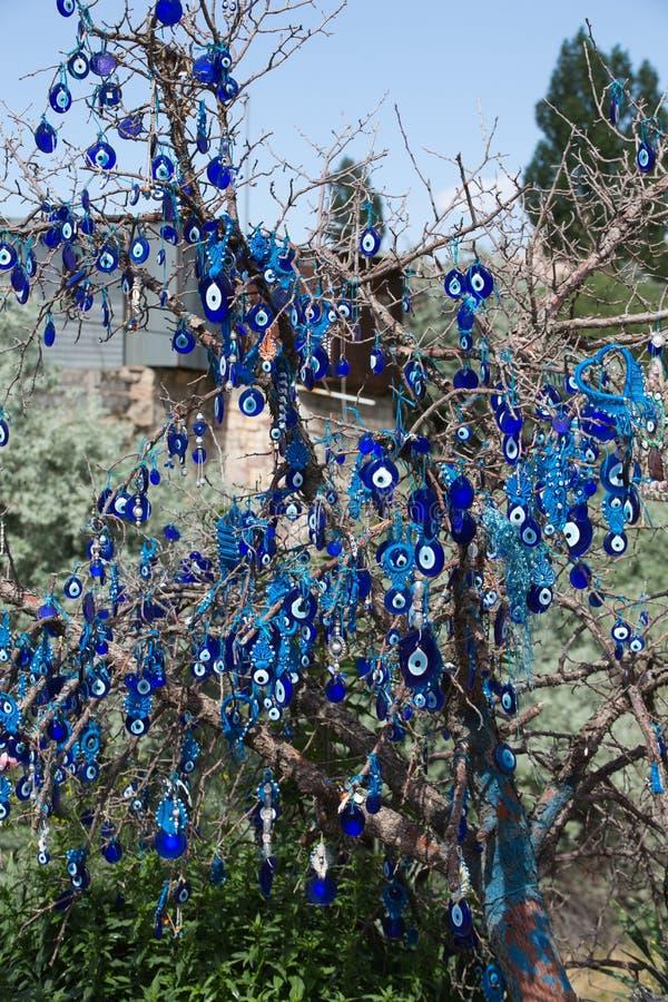 Malocchio in albero dietro il castello di Uchisar in Cappadocia fotografia stock libera da diritti