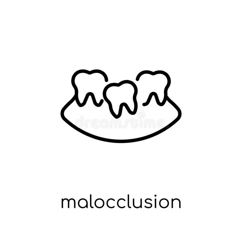 Malocclusion icon. Trendy modern flat linear vector Malocclusion. Icon on white background from thin line Dentist collection, editable outline stroke vector vector illustration