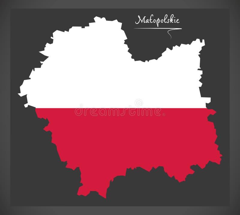Malopolskie map of Poland with Polish national flag illustration. Malopolskie map of Poland with Polish national flag vector illustration