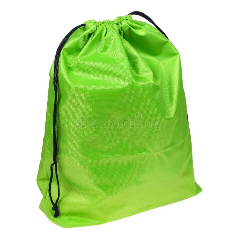 Malote ou saco verde da tela foto de stock