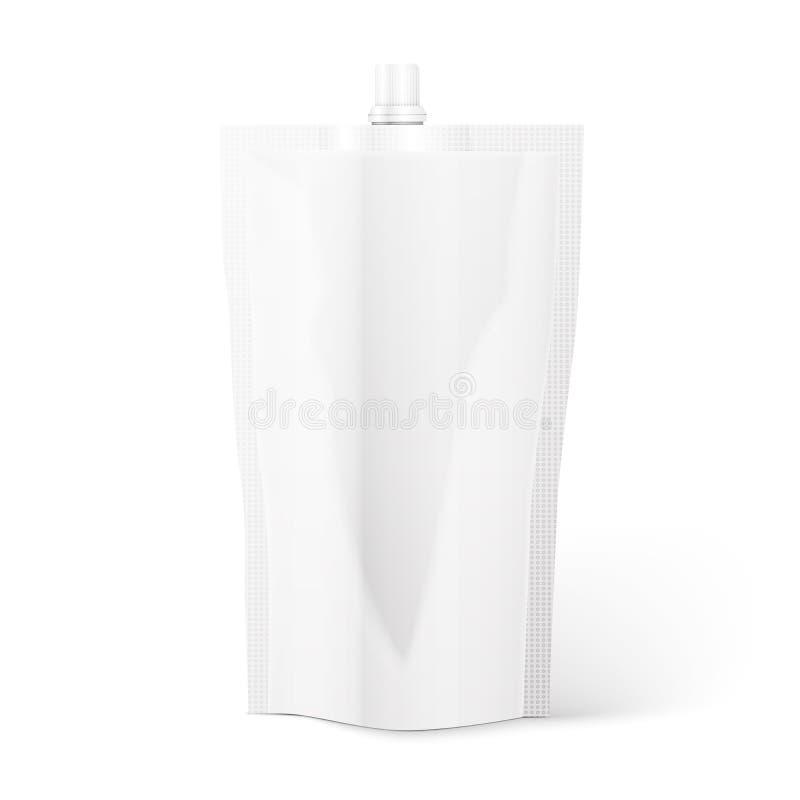 Malote vazio do bico, folha do saco ou empacotamento plástico ilustração stock