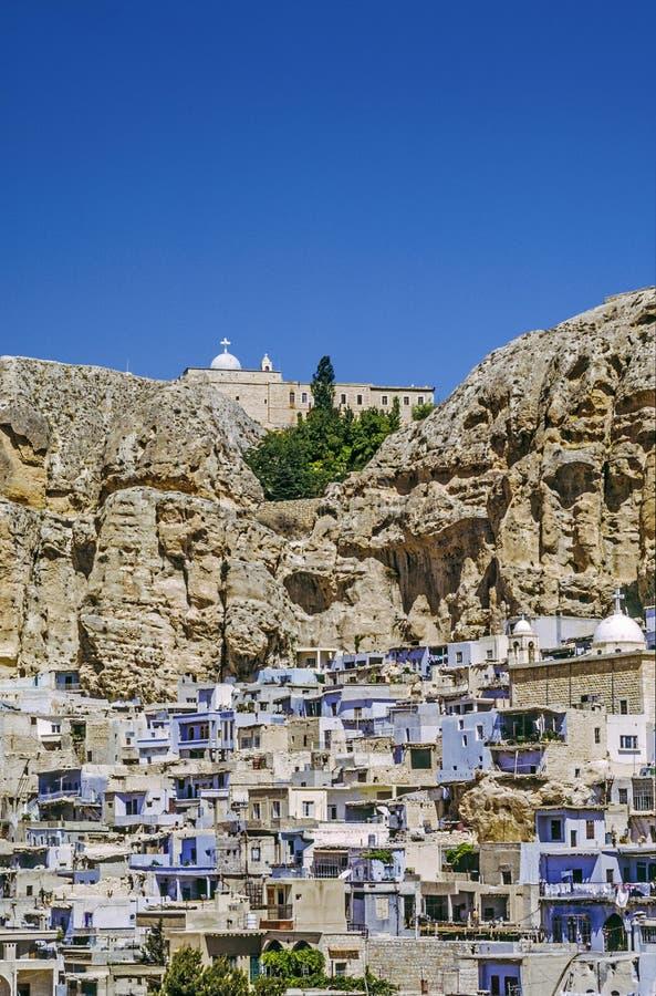 Maloula eller Maalula, kristen by i Rif Dimash, Syrien royaltyfria foton