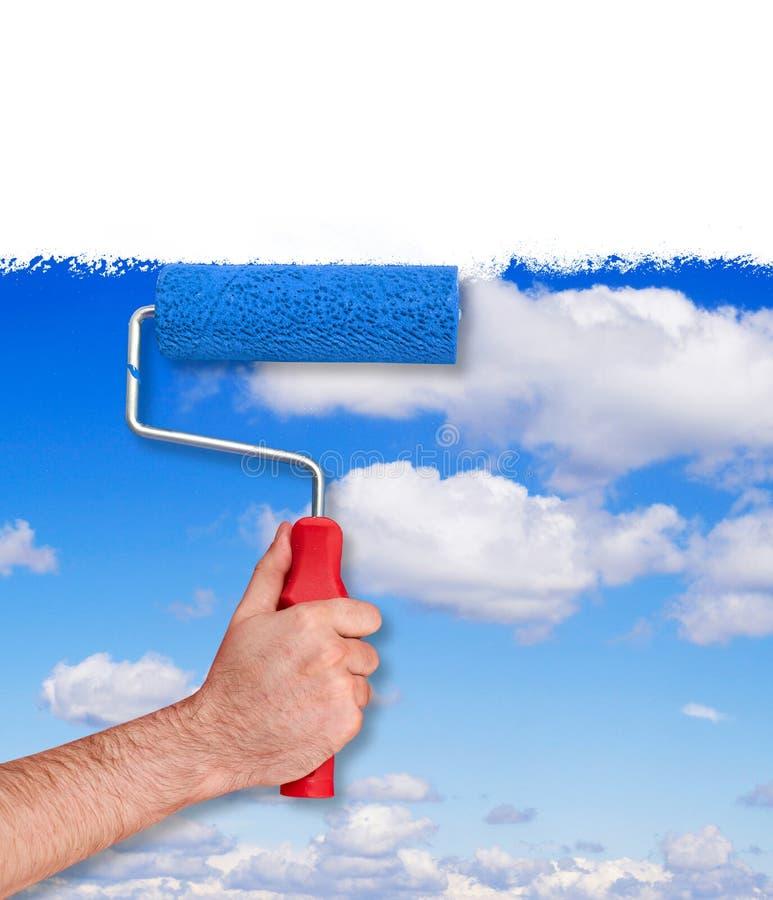 Malować ścianę z niebo teksturą zdjęcie stock