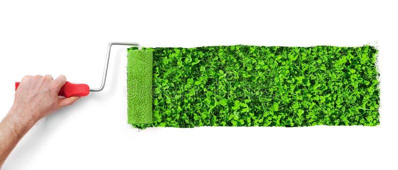 Malować ścianę z trawą zdjęcia stock