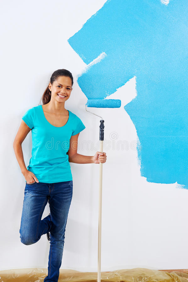 Malować ściennego kobieta portret obraz royalty free