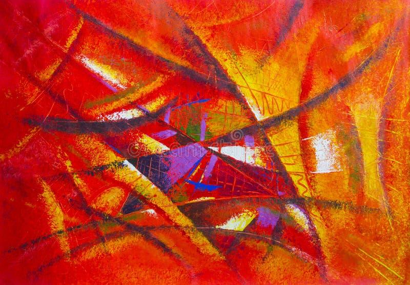 Malować abstrakcjonistycznej sztuki oryginału olej i akrylowego kolor na kanwie ilustracja wektor