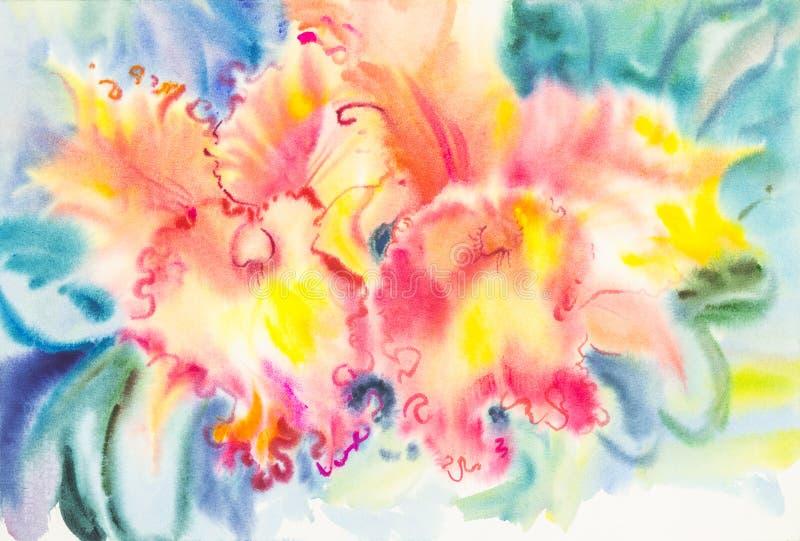 Malować czerwonego kolor storczykowi kwiatu i zieleni liście ilustracja wektor