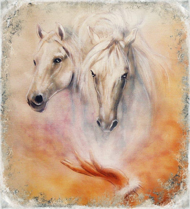 Malować dwa białego konia, rocznika abstrakta tło ilustracja wektor